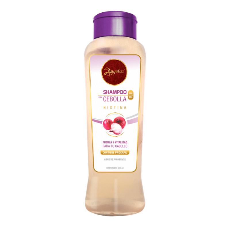 Shampoo de cebolla anyeluz con la cebolla real adentro para detener la caída del cabello